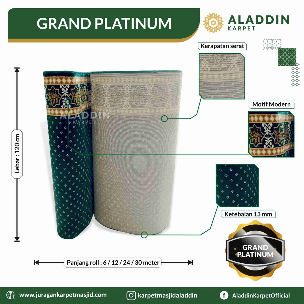 tipe karpet masjid hijau grand paltinum